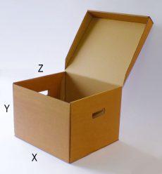 Archiváló karton doboz (3db gyűrűs dosszié fektetett tárolására)